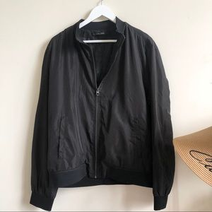Zara men's black bomber jacket